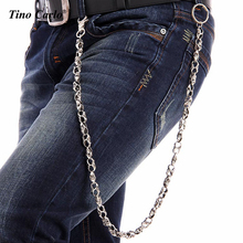 "31"" Silver Black Metal Long Wallet Chains KeyChain Strong Thick Skull Skeleton Biker Jeans Chain Hip Hop -79cm KB27"