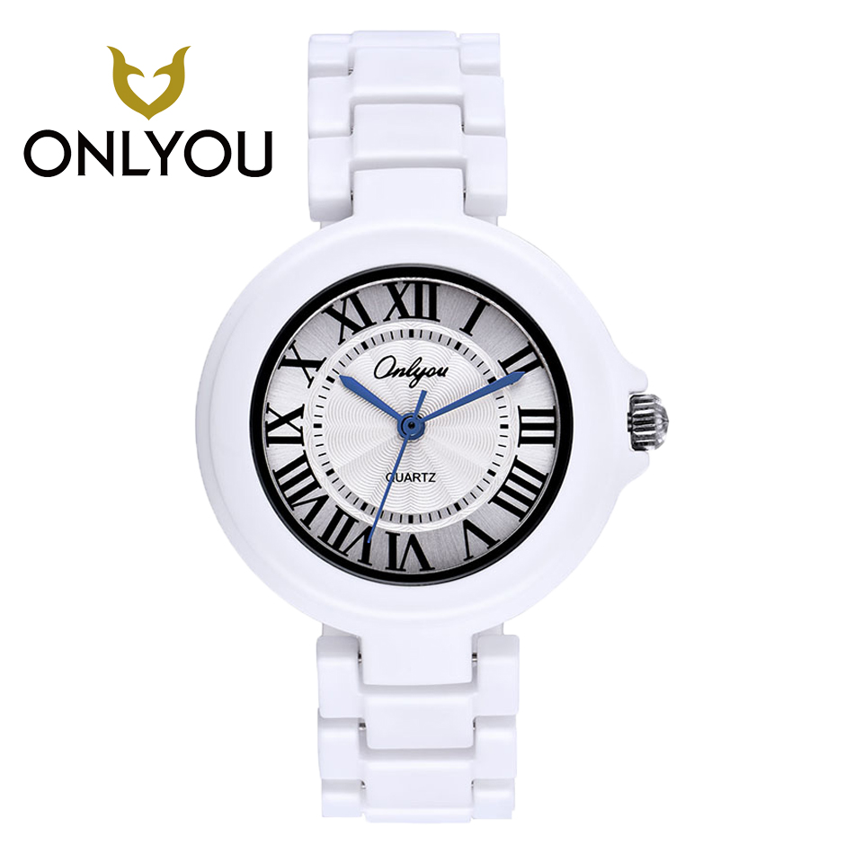 ONLYOU Ladies Ceramic Watch Luxury  Lover Watches Bracelet Watches with Fine Stainless Strap Women Dress Watch For Male Clock<br>
