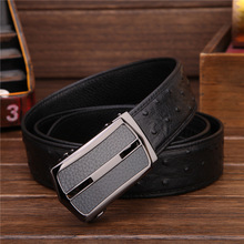 2016882 business MEN   TOP FULL GRAIN  GENUINE LEATHER black  Ostrich pattern   leather    belt
