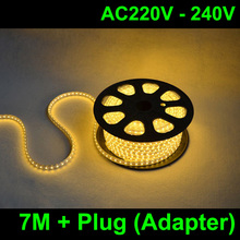 7M/lot AC220V 230V 240VSMD 5050 led strip light+Power plug,warm white/white,60leds/m waterproof
