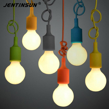 Modern Colorful Silicone Led Pendant Lights for Bar Restaurant Diningroom Livingroom Led Pendant Lamp Vintage E27 Edison Bulbs