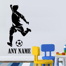 Personalized Football Player Vinyl Wall Sticker Any Name Football Men Art Decal Custom Gift Kids Room Living Room Decoration