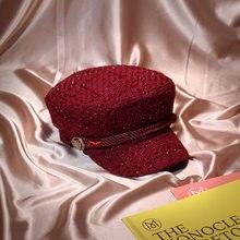 2018 Inverno ROSSO rosa di Modo Dell annata Filo D oro Tweed Cappello di  lana Berretto Da Baseball per le donne Gorras Snapback . 792ed1e76126
