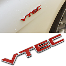 Car Styling 3D Red VTEC Full Metal Zinc Alloy Refitting Emblem Fender/Tail Badge Sticker for Honda Civic Accord Odyssey Spirior