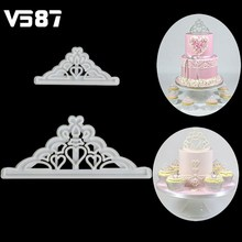 2Pcs/set Cake Cutter Sugarcraft Crown Silicone Mold Tiara Fondant Icing Cutting Die Cake Cookies Tool For Decoration Baking