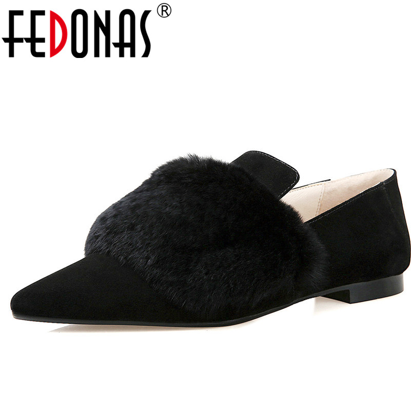 FEDONAS Fashion Women New High Quality Genuine Leather Casual Shoes Low Heels Comfortable Rabbit Fur Comfortable Loafers Shoes<br>