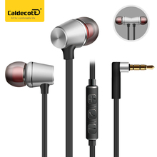 Caldecott Brand Earphone Mobile Accessories Metal Wired Heavy Bass Earphone In Ear Earbuds With Microphone for IOS/Android(China)
