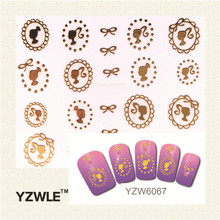 YZWLE 1 Sheet 2017 Photoframe Style Gold Girl Avatar Stiker Nail Sticker Nail Decal Tolls(China)