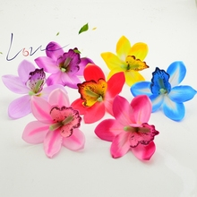 Handmade Artificial Orchid Head Wedding Banquet Wedding Gift Home Decorated Artificial Flower Scissors Crown(China)