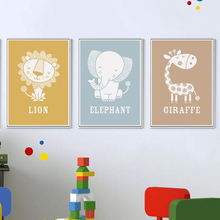 Bianche Wall Simple And Lovely Children Cartoon Animals Canvas Painting Art Poster Wall Print Picture Children Bedroom Decor(China)