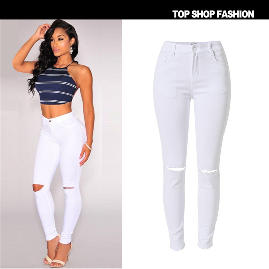 New Fashion 2017 High Elastic Cotton Womens White High Waist  Jeans Ripped Hole Knee Skinny Pencil Pants Slim CaprisОдежда и ак�е��уары<br><br><br>Aliexpress