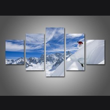 New canvas paintings 5 pieces/sets canvas art HD Ski combination wall for living room decoration for home printing on canvas\A8