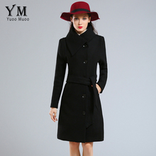 YuooMuoo Brand Fashion Plus Size Winter Coat Women Long Wool Coats High Quality Black Woolen Jacket Poncho Autumn Cashmere Coat