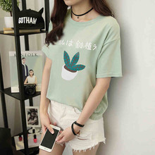 Japanese Summer Fashion Cartoon Letter Printed Women T shirt Casual Loose Harajuku T-shirt  Short Sleeve T-shirts 41061