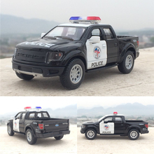 High Simulation Diecast Toy Vehicles Car Ford F150 Raptor Pickup Truck 1:46 Alloy Police Diecast SUV Car Model For Kids Gifts(China)