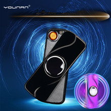 YOUNAN Fingertip Gyroscope Lighter USB Charging Windproof Lighters Electronic Cigarette Lighter Men Gift With Box-8030(China)