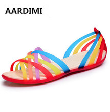 Summer jelly sandals women colorful rubber shoes fashion rainbow women sandals casual beach shoes woman sandals sandalias mujer