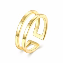 Classic classical style smooth surface gold opening ring wedding gift