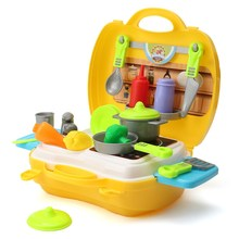 New 23Pcs/set Kids Children Pretend Role Playing Toy Set Kitchen Food Cooking Chef Kits With Box Gifts Toys For Children(China)