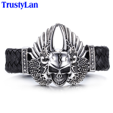 TrustyLan Hot Sales Stainless Steel Men's Bracelets Fashion Brand Male Jewelry Accessory Skull With Wing Leather Bracelet Men(China)