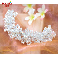 Fashion 1pc/bag Korean Hair Accessories White pearl crystal headdress handmade Wedding dress accessories bridal hair jewelry(China)
