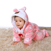 2017  winter warm baby infant boys clothes pattern girls hooded footie newborn sleepwear kid apparel children clothing