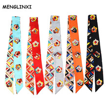 MENGLINXI 2017 Bag Twillies Luxury Brand Small Print Silk Scarf For Women Cartoon Floral Headwear Handle Bag Ribbon Long Scarves(China)