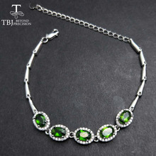 TBJ,Natural Good color Emerald Bracelet Oval cut 4*6mm,5pc 2.5ct emerald bracelet in 925 sterling silver gemstone with gift box