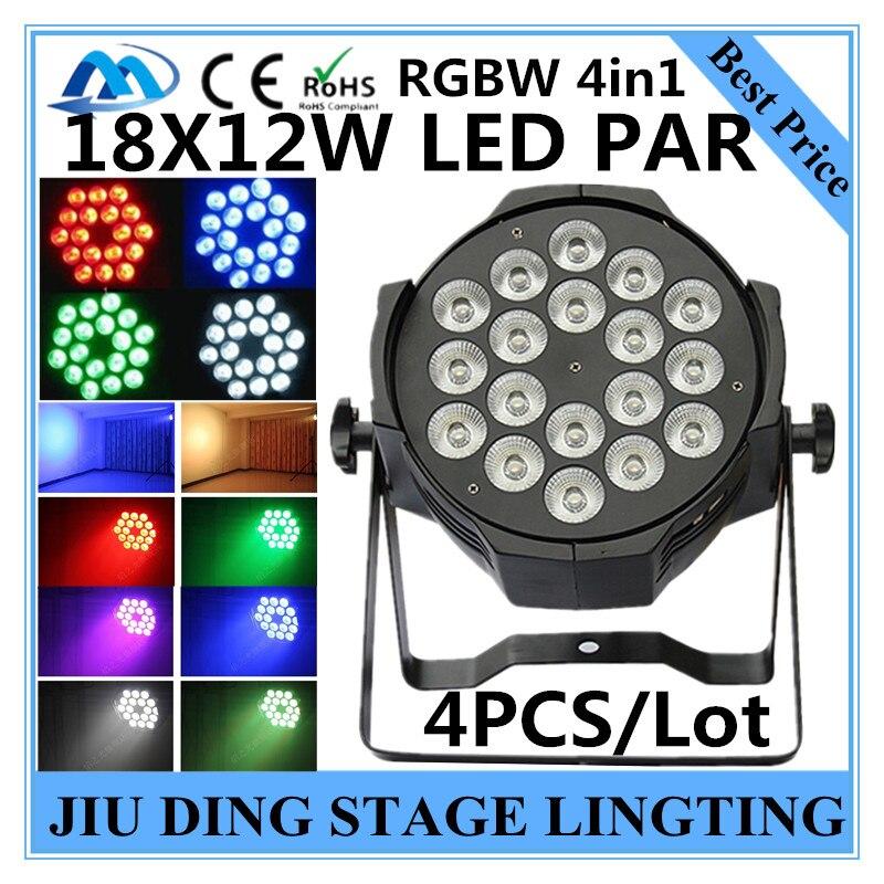 4pcs / RGBW 4in1 18X12W LED PAR full color disco lights, DMX512 par led professional dj equipment dyeing lamp<br><br>Aliexpress