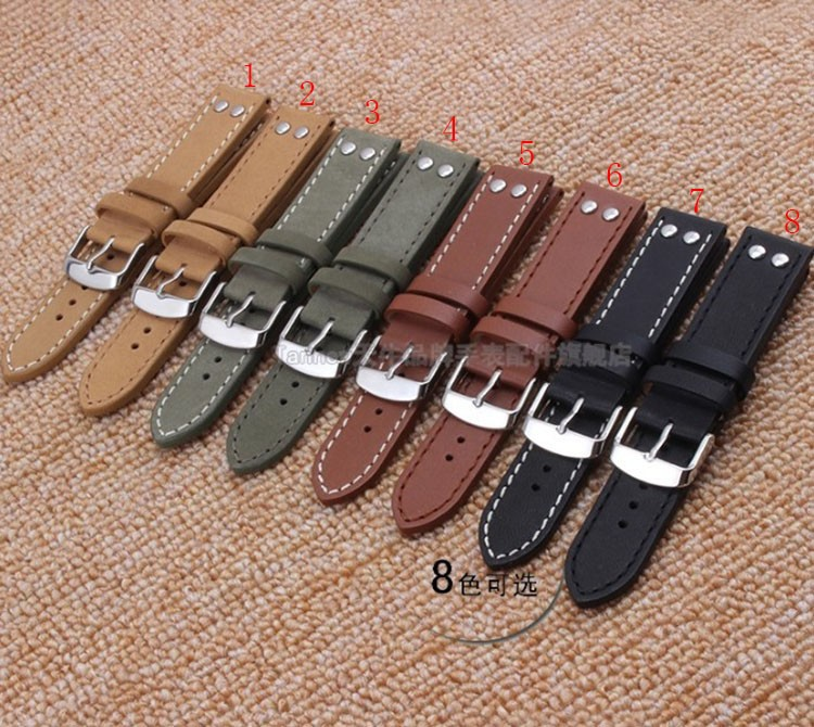 22mm  20mm watchband Smooth Cowhide Leather watch band strap bracelet nail for men watches Black silver steel buckle Promotion<br><br>Aliexpress