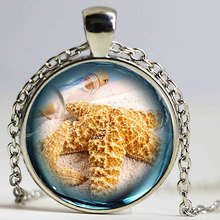 Sea bottle cute Starfish design Glass Statement Necklace Marine life Vintage Silver Jewelry Halobios Pendant necklace kids