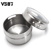 12Pcs/Pack Magnetic Spice Tin Jars Stainless Steel Condiment Storage Holder Container Clear Lid Home Kitchen Cooking Tools(China)