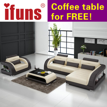 IFUNS french sofa set living room furniture,genuine leather lounge sofa with loveseat chesterfield sectional sofa(China)