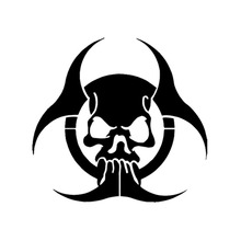 Zombie Biohazard Skull Car Sticker Wall Home Glass Window Door Laptop Auto Truck Vinyl Decals Car Styling Black 12.2cmX11.5cm