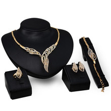 New Women African Beads Jewelry Sets Fine Wedding Pendant Statement Crystal Collares Necklace Earrings Bracelet Finger Ring Set(China)