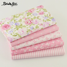 Booksew 100% Cotton Fabric 5pcs 40cm*50cm Pink For Sewing Fat Quarter Quilting Patchwork Tissue Doll Cloth Kids Bedding Textile(China)