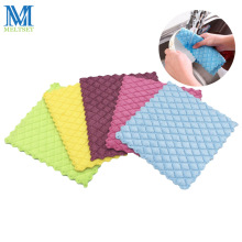 1PC Bamboo Fiber Dish Cloth Colorful Washing Towel Absorbent Kitchen Cleaning Wiping Rags(China)
