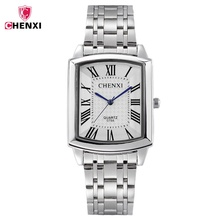2017 CHENXI Square Women Watch Roman Numeral Silver Stainless Steel Quartz Watches Men Lover's Lady Clock Retro Casual Couple(China)