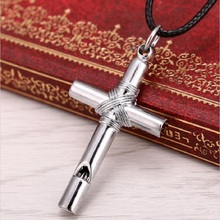 Men Women Whistle Titanium Steel Cross Pendant Necklace with Leather Rope fashion jewelry necklace