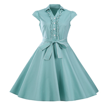 Mulheres summer dress 2017 big bow festa casual dress manga curta retro 60 s 50 s rockabilly do vintage chique étnica vestidos vestidos