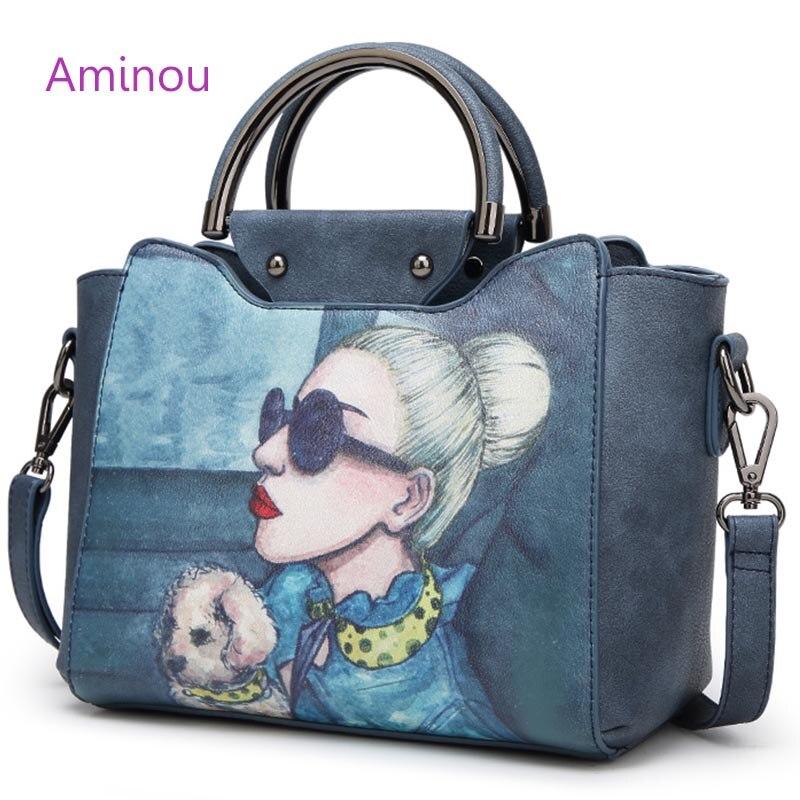 2016 Famous Designer Brand Tote Bags Women High Quality Leather Handbags Shoulder Bag For Ladies Vintage Print Handbag Blue Pink<br>