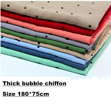 18 colors thick bubble chiffon crystal scarf beads silk shawl scarf muslim hijab head scarf underscarf hijab cover headwrap(China)