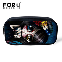 FORUDESIGNS Skull Print Women Make Up Bags Ladies Small Cute Cosmetics Bag Makeup Case School Kids Pencil Bag Children Pen Case