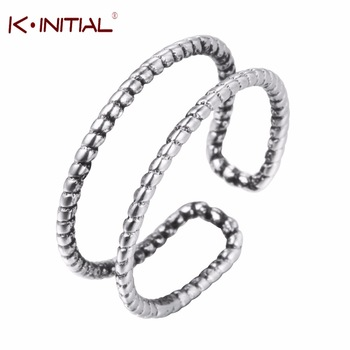 Kinitial 925 Sterling Silver Open Double Twist Line Rings Jewelry Vintage Ring for Women Girls Anniversary Party Christmas Gift