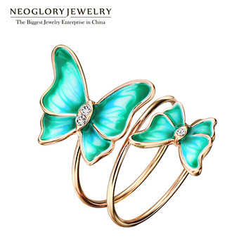 Neoglory Multilayer Green Gold Plated Enamel Butterfly Vintage Engagement Wedding Rings Gifts For Women Big Fashion Jewelry 2017