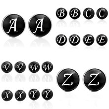 2018 New Style Men Cuff links Alphabet Single Letter Black Bottom Silver Plated Letters A-Z Silver Movement Cufflinks(China)