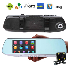 "Buy Hot 5.0"" IPS Touch Android Reversing Rearview mirror video recorder Car DVR Dual Camera GPS camera parking e-dog Radar detection for $105.00 in AliExpress store"