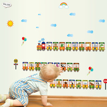 mini Small train alphabet cartoon funny letters wall sticker for kids baby Boy Girl bedroom Nursery decoration mural home decor
