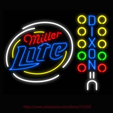 2016 Hot Neon Sign Board Miller Lite Larryy Dixon Real Glass Tube vintage neon sign Handcrafted neon custom Iconic Sign 31x24(China)