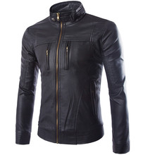 Leather Jacket Men Fashion Pocket Design PU Leather Jacket Motorcycle jaqueta de couro mens leather jacket jaqueta masculina